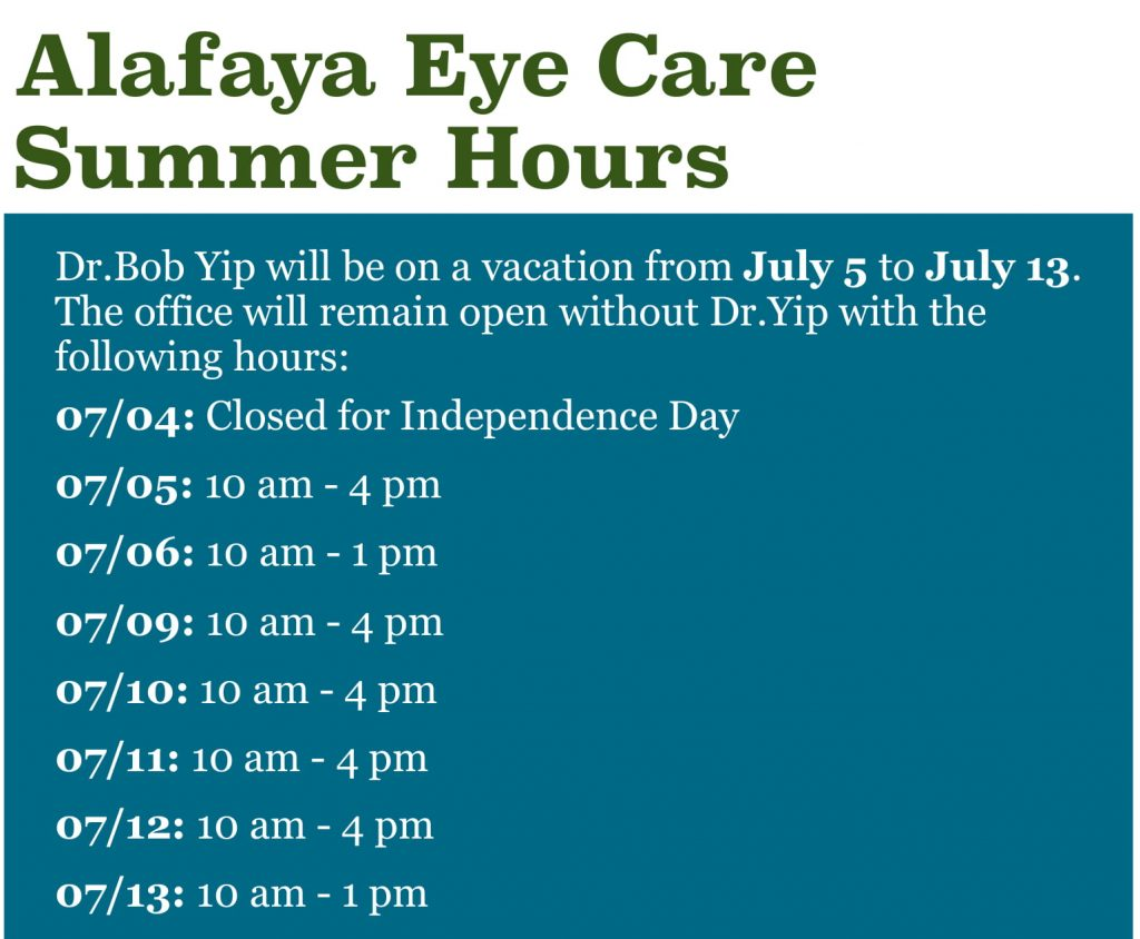 Dr.Yip Summer Hours 1
